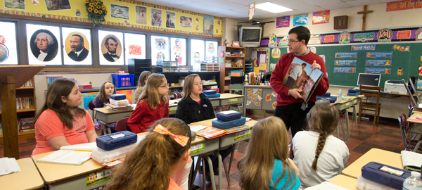 Students at St. Vitus Parish School in New Castle. Supporting Catholic education is an important part of practicing Stewardship. (credit: Jim Judkis)