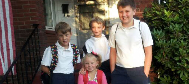 The Grinnen children (l-r), Elliot (3rd grade), Sadie (Pre-K), Cole Patrick (1st grade), and Liam (6th grade).