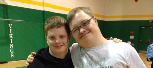 Justin Puharic (right) and his best friend Charlie Oxenreiter at the Inclusive Games. Photo credit: Theresa Puharic