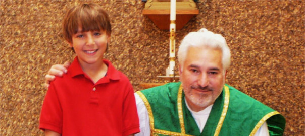 Erik Matthews, with Fr. John Lynam, pastor of Madonna del Castello Parish.