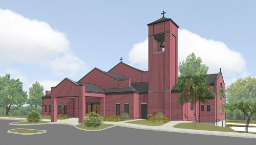 An artist's rendering of the future St. Kilian church