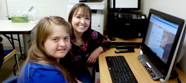 St. Anthony School Programs student Maria Rajakovich, left, with her job coach, Duquesne University student Erin McGrady.