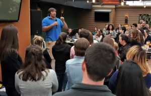 Pittsburgh Steelers offensive lineman Alejandro Villanueva speaks about his personal faith in 2017 at Theology on Tap in Pittsburgh's Shadyside neighborhood.